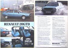 Renault 20 GTD Diesel 1981 Original UK Market Brochure