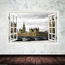 Colore COMPLETO Big Ben di Londra Finestrino Muro Arte Adesivo Trasferimento Decalcomania Stampa Grafica