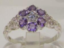 Ladies Solid Hallmarked Sterling Silver Genuine Diamond & Amethyst Vintage Ring