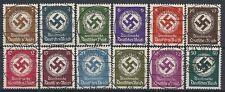 1942 GERMANIA USATO TERZO REICH SERVIZIO CROCE UNCINATA 12 VALORI - DE091