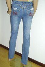 Sexy Damen Bootcut  Jeans Strass & Nieten Stickereien Stretch blau Vintage Neu