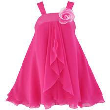Sunny Fashion Robe Fille A-ligne Licou Fleur Multi Couche Mousseline De Soie