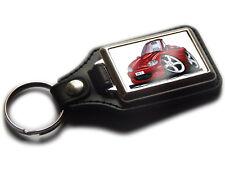 MAZDA MX5 Convertible Sports Car Koolart Leather and Chrome Keyring