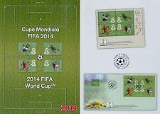 Romania 2014 World Cup Brazil mi.6824-27 bl.4, stripes, block 592,fdc