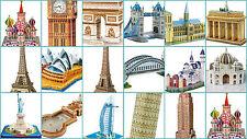 3D PUZZLE paesi Big Ben Tower Bridge TORRE EIFFEL NOTRE DAME Taj Mahal NUOVO