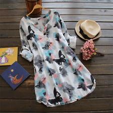 ZANZEA 8-24 Women Vintage Boho Tunic Top Blouse Long Sleeve Mini Sundress Dress