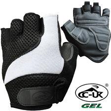 Mens Womens Teenagers Kids Half Finger Padded Gel Cycling Gloves - Black & White