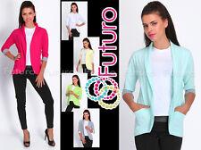 Blazer With Pockets 3/4 Sleeve Cardigan Jacket Shrug Bolero Cuff Sizes 8-16 2501
