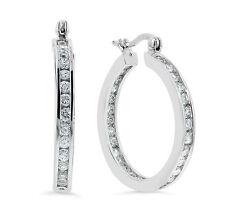 """22mm=7/8"""" Diamonique CZ Inside Out Hoop Earrings Real 925 Sterling Silver 6.10gr"""