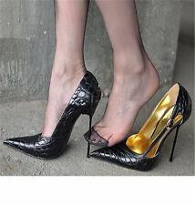 Womens Slim High Metal Heel Shoes Buckle Pointy Toe Stiletto Court Shoes Plus SZ