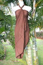 Hawaii Pareo Sarong Plus Sized Solid Brown Luau Cruise Beach Pool Wrap Dress