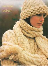 Aran Bramble Pattern Hat, Scarf, Mitts & Jumper to Knit