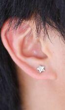 1 Pair Clip On Magnetic Star Stud Earrings Silvertone or Black For Women & Men