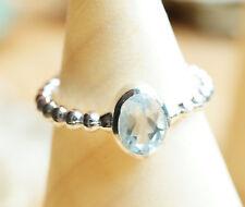 Handarbeit Ring Silber Blautopas Blau Silberring 52 54 Schmal Glanz Kugeln Edel