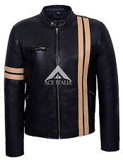'Driver Men's Black Leather Jacket With Beige Stripe Fight Club Biker Style 5311