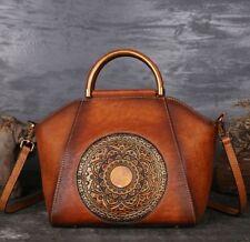 New Handmade Women Genuine Cow Leather Messenger Shoulder Bag Handbag embossed M