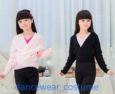 Girls Kids Ballet Dance Wrap Sweaters Gymnastics Costume Dance Skate Dress 4-8Y