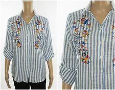 ex Zara Striped Embroidery Long Sleeve Shirt