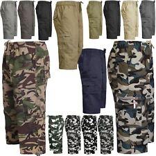 Esercito da Uomo 3/4 Elastico in Vita Lungo Pantaloncini Militari Tasche Cargo Combat Mimetico