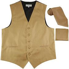 New Men's Formal Vest Tuxedo Waistcoat_necktie set stripes wedding mocca brown