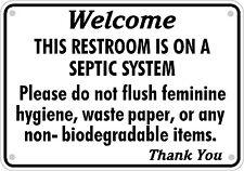 Septic System Tank Bathroom Sign Restroom Toilet Aluminum Varied Sizes