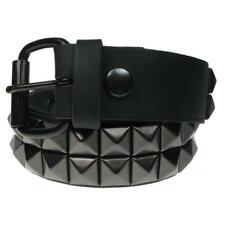 Cinturon cuero con tachuela piramidal negra 2 filas leather belt Bullet69 B020a