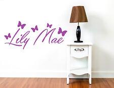 PERSONALISED GIRLS BUTTERFLY WALL NAME STICKER Kids Art Childrens butterflies