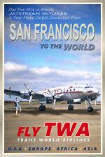 SAN FRANCISCO CA -TWA Constellation Airliner Retro Travel Poster - Art Print 095