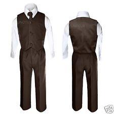 Baby Boys Toddler Wedding Formal Party Vest Set Dark Brown Suit S M L XL 2T 3T-7