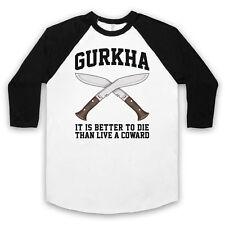 GURKHA MOTTO IT IS BETTER TO DIE THAN LIVE A COWARD UNISEX 3/4 BASEBALL TEE