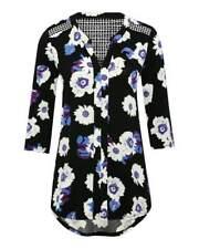 M&Co Womens Black White Floral Print Pleat Front Top