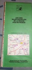 Carte michelin Les cinq villes nouvelles de la region ile de france 1978