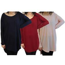 Ladies Fly Knit Bodycon Shirt Hi Low Dip Hem Long Sleeve Tunic Shirt Top 8-22