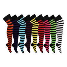 Kids/Girls Long Over the Knee Stripy Cotton Blend Fancy Dress Socks (3 Pairs)