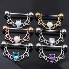 14G Nipple Bar Ring 316L Surgical Steel Opal Zircon Shield Body Piercing Jewelry