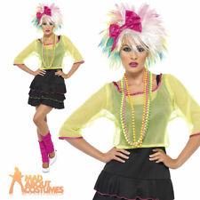 Ladies 1980s Pop Tart Costume Neon Rave Fancy Dress Womens Outfit