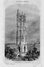 Stampa antica PARIGI Torre Saint-Jacques Paris 1858
