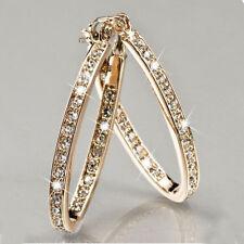 925 Silver Gold Cubic Zircon Rhinestone Big Circle Cross Hoop Earrings Jewelry