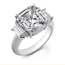 New 4.80 Ct 3-Stone Asscher Cut Diamond Engagement Ring 18K WhiteGold  H,VS2 GIA
