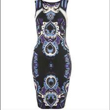 Topshop Motivo Cachemire Vestito Attillato da Party Taglia Piccola UK 8 12