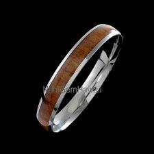 Hawaiian Koa Wood Stainless Steel  Hawaiian Bangle Domed Round Koa Wood Bracelet