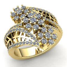 2ctw Round Cut Diamond Ladies Bridal Flower Engagement Ring 18K Gold