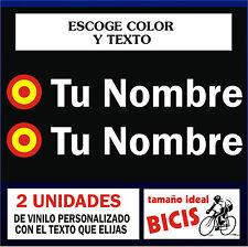 PEGATINAS PERSONALIZABLES (2 UNID.) - BANDERA ESPAÑA CIRCULAR CON NOMBRE -VINILO