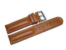 Bracelet montre cuir lisse - marron clair - surpiqué blanco - 18,20,22,24 mm NEU