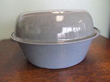 Enamelware Covered Gray Pan Baking or Roasting Graniteware