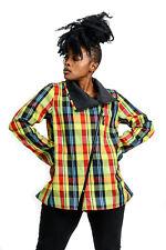 "UBU Reversible 30"" Crinkled Asymmetrical Zip Front Raincoat- Plaid to Black"