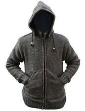 Mens Woolen Fleece Lined Camping Warm Jacket Fesitval Warm Coat