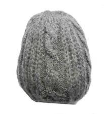 Berretto uomo donna grigio melange disegni a treccia capello di lana made italy