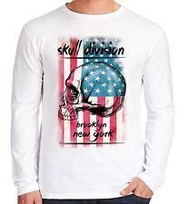Velocitee para hombre de manga larga T Shirt New York cráneo división USA América V105