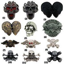 Skeleton Belt Buckle Skull Crossbones Metal Fashion Silver Tattoo Mens Women New